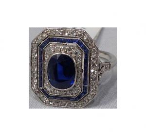 Art Déco Saphire Diamond Ring