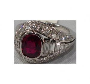 Art Déco Ruby Diamond Ring