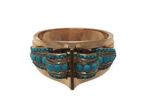 40's Bangle with Diamonds and Turquoise