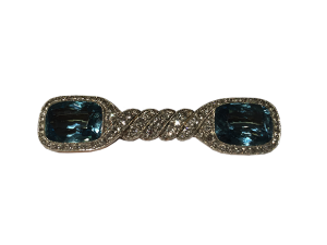 Aquamarine Brooch with Diamonds