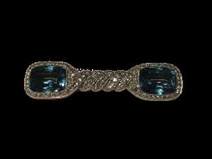 Aquamarine Brooch with Diamonds