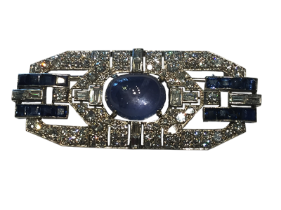 Art Deco Brooch with Diamonds and Star Sapphire
