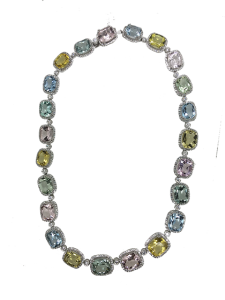 Coloured Stone and Diamond Necklace