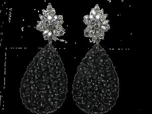 Diamond Earclips with Jade