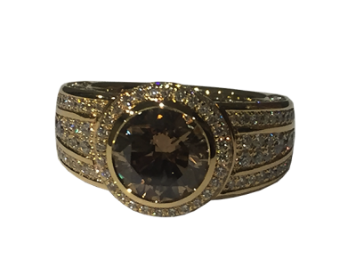 Diamond Ring, Center Stone Brown Diamond