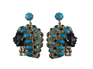 Earrings with Diamonds and Turquoise