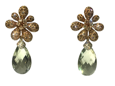 Prasiolite Diamond Earrings