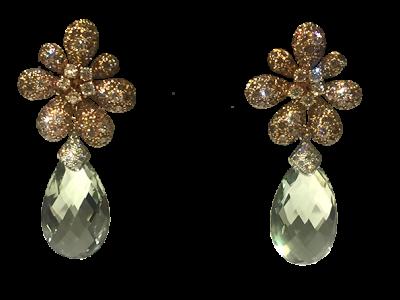 Prasiolite Diamond Earrings