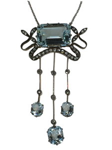 Necklace 19th Century with Diamonds and Aquamarine