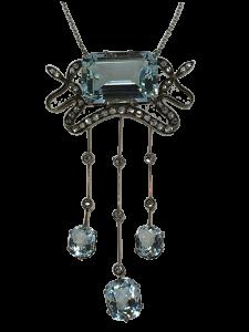 Necklace 19th Century with Diamonds and Aquamarine