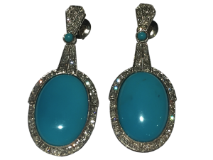 Platin Earrings with Turquoise and Diamonds