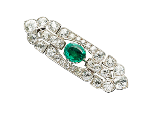 Vintage Emerald Diamond Brooch