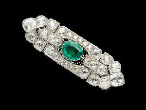 Vintage Emerald Diamond Brooch