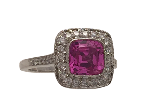 """Tiffany Ring """"Legacy"""" Pink Saphire and Diamonds"""
