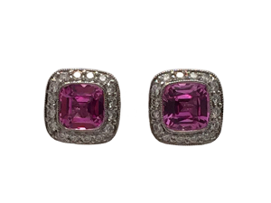 "Tiffany Studs ""Legacy"" Pink Saphire and Diamonds"