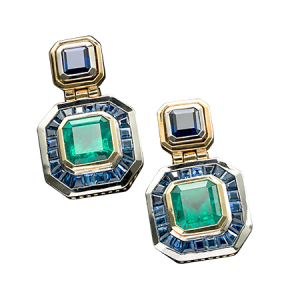 Fine Emerald and Saphire Earrings