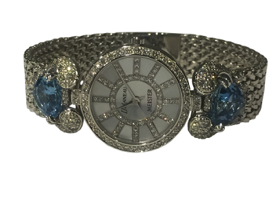 """Watch """"De Laneau"""" sign. Meister with Diamonds and Aquamarine"""
